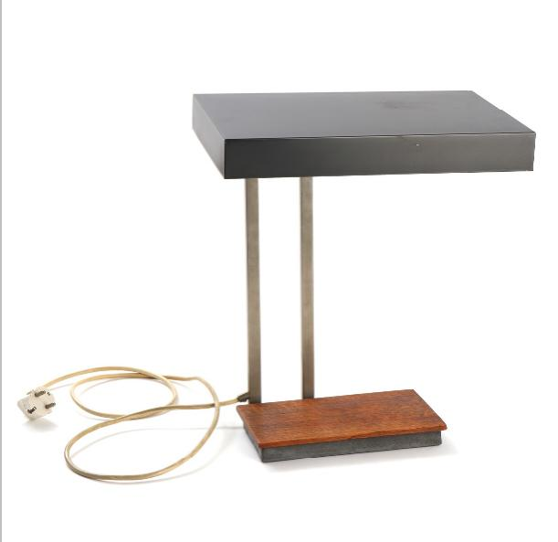 Adjustable chromed metal table lamp with grey lacquered metal shade and teak base