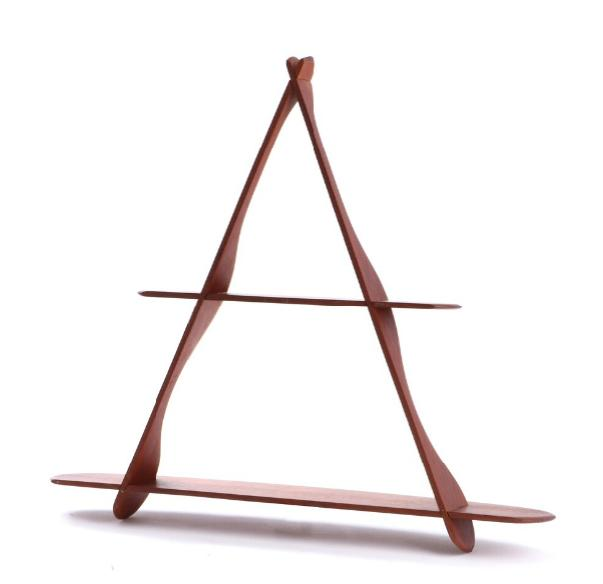 "A triangular solid teak shelf (""Amager shelf"") with rounded profiles and two shelves"