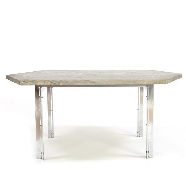 Coffee table with chromed steel frame