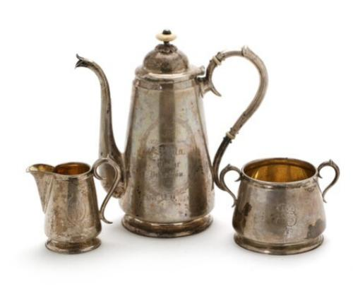 A Finnish silver coffe set, comprising a coffeepot, sugar bowl and creamer, Wiborg 1894