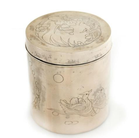 Chinese silver canister, sides engraved with kartouche