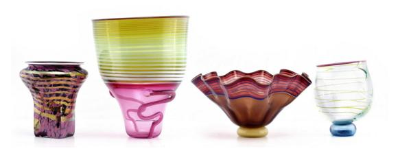 FOUR ART GLASS VASES BY DAVID HERSHEY