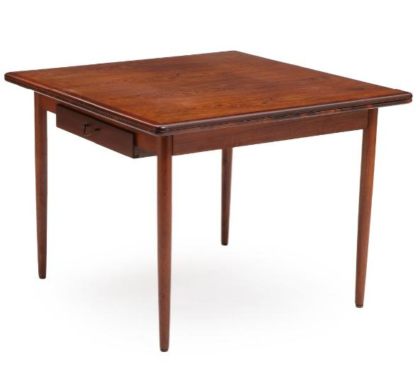 Square/rectangular rosewood table with foldable top and adjustable frame