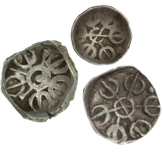 India, Taxila, 1/4, 1/8, 1/16 Shatamana, c. 500-300 BC, Rajgor, Series 38 and 41. (3)
