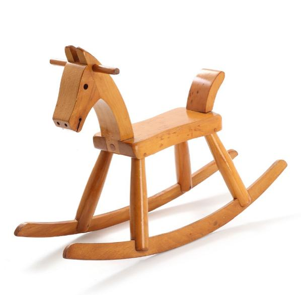 A lacquered beech rocking horse