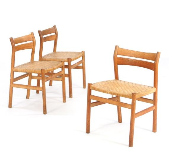 Set of three dining chairs of oak