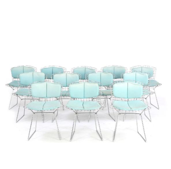 Set of 12 chairs with frame of chromed steel