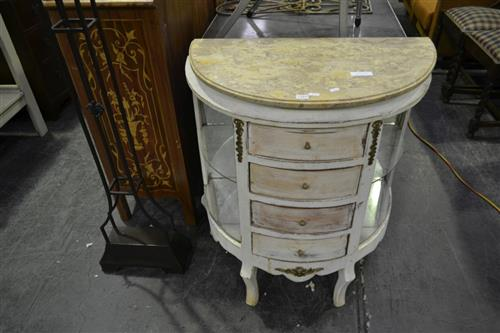 White Painted Chest of Four Drawers With Mirrored Back Too Sides
