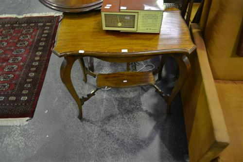 Shield Top Table on Stretcher Base (Base Needs Repair)