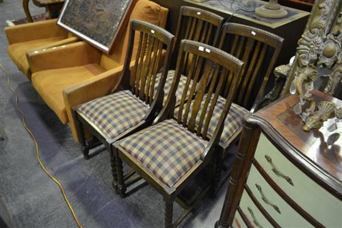 Set of 4 Slat Back Chairs w Barley Twist Supports