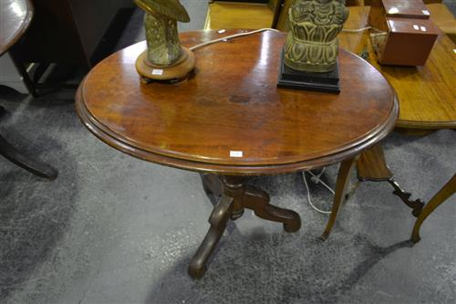 Late 19th Century Cedar Occasional Table, on turned pedestal with three outswept feet