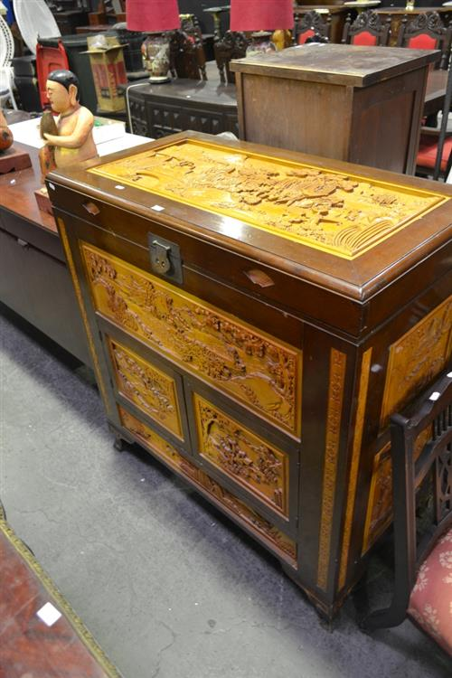 Heavily Carved Chinese Camphor Lift Top Cabinet w 2 Doors Below