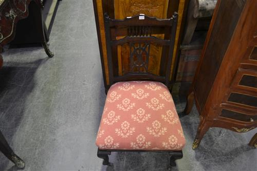 Edwardian Mahogany Spindle Back Side Chair, with red fabric seat and cabriole legs