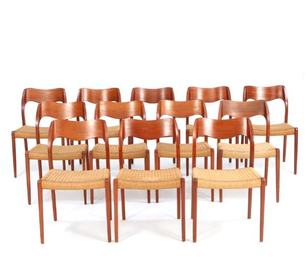 A set of 12 dining chairs of teak