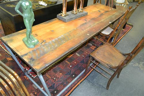 Industrial Timber Top Table With Various Inlaid Items incl. Spanners and Penny