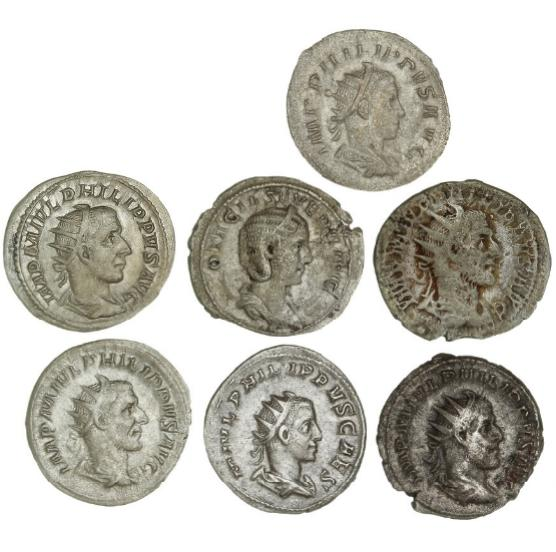 Roman Empire, 7 Antoninianii from Philippus I