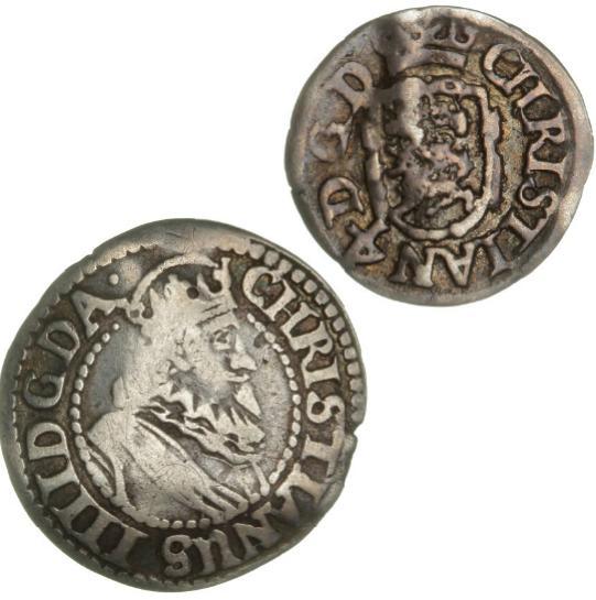 Christian IV, 4 skilling 1632, H 142, 2 skilling 1632, H 143, i alt 2 stk.