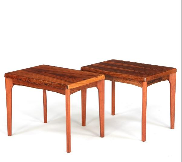 A pair of rectangular coffee tables of rosewood