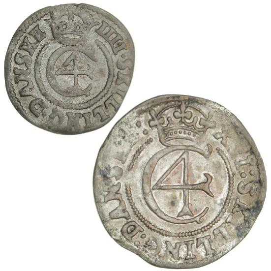 Christian IV, 16 skilling 1645, H 149, and 4 skilling 1645, H 150