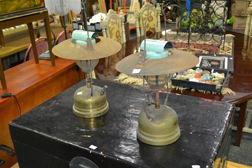 Pair of Vintage Enamel Kerosene Lamps