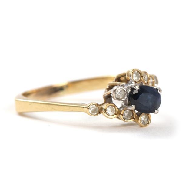 A sapphire and diamond ring set
