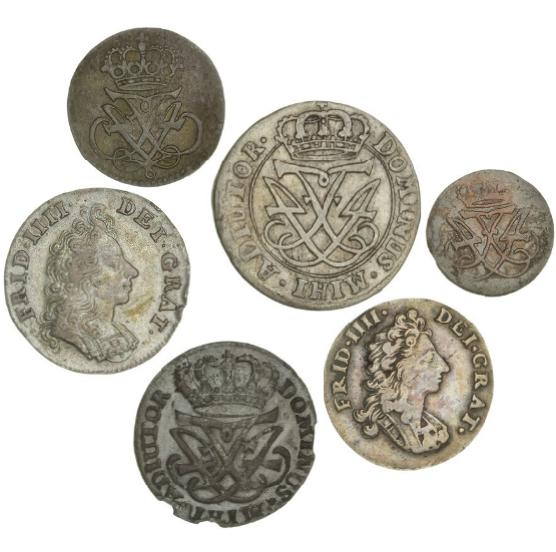Frederik IV, small collection of Danish skillinger and Norway