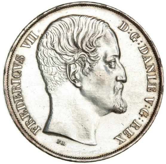 Frederik VII, speciedaler 1849 VS, H 4A, obverse polished and w. small scars on edge