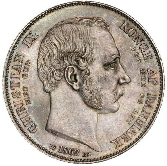 "Christian IX, 2 rigsdaler 1863 Rh ""Tronskiftespecie"", H 3"