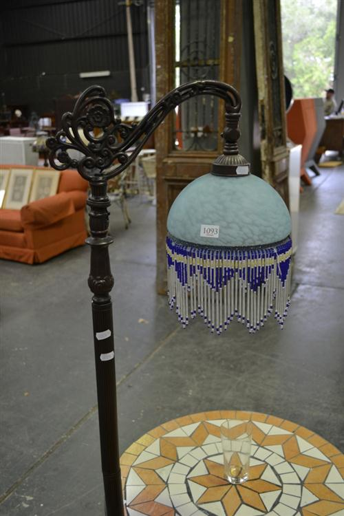 Beaded Glass Shade Hanging Standard Lamp