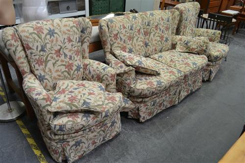 Fabric 3 Piece Lounge Suite incl. 2 Seater & Pair of Wingback Armchairs