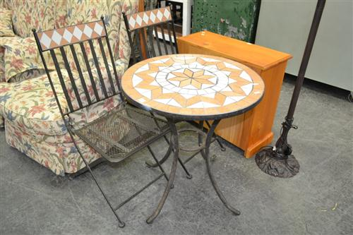 3 Piece Garden Setting incl. Tile Top Table & Pair of Chairs