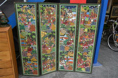 Hand Painted Four Panel Balinese Dressing Screen
