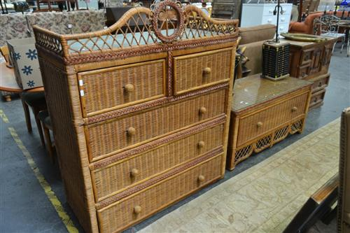 Wicker Front Chest of 5 Drawers over Single Drawer Base