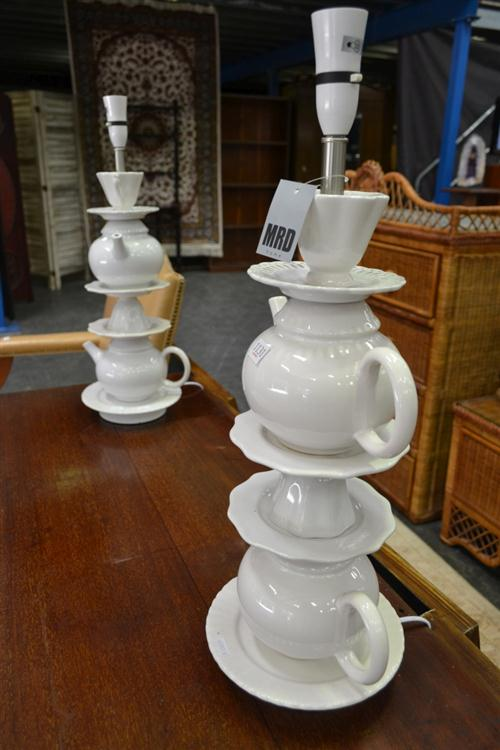 Pair Of Ceramic Mad Hatters Tea Party Lamps