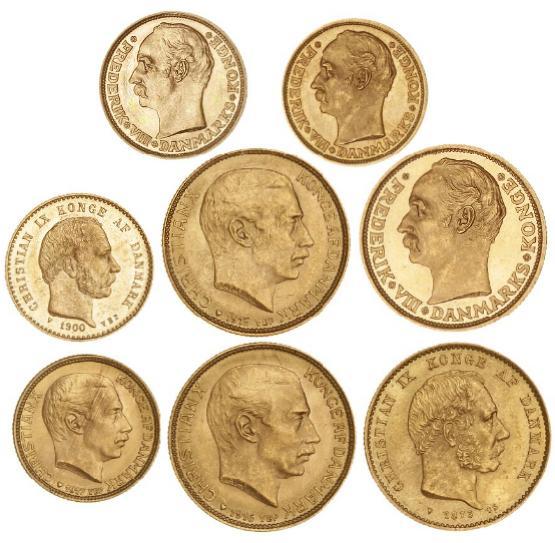 20 kr 1873, H 8A, 10 kr 1900, H 9B, 20 kr 1911