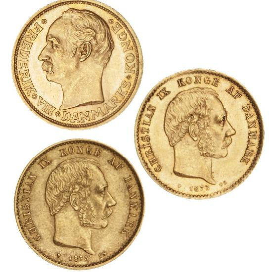 20 kr 1873 CS, H 8A, F 295, (2 pcs), and Frederik VIII