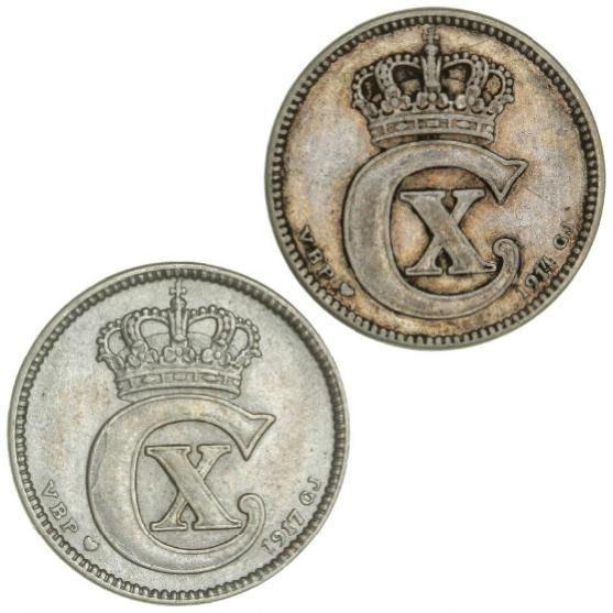 25 øre 1914 (Fine); 1917 (VF), H 10A. (2)