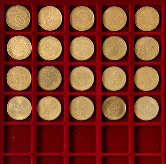 2 kr 1924 - 1959 complete 20 pcs. H 20A,B, 5A,B,