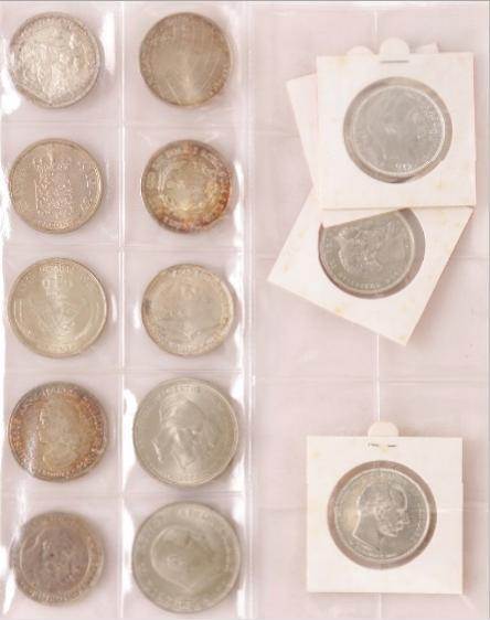 Comm. 1888 - 1972 17 pcs. incl. 1892, 1903 (2), 1912, 10 kr 1986 Ag in orig. box