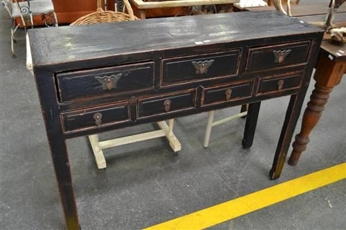 Oriental Side Table w 7 Drawers