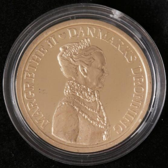 1000 kr 2012, Au, struck on the 40th jubilee, Jan. 14, proof in capsule and box with certificate