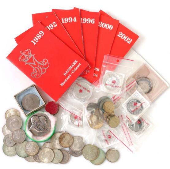 Box w. Danish coins, incl. commemoratives, 1892-1986 (22 pcs)