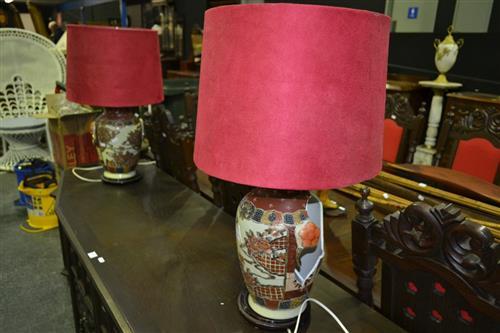 Pair of Oriental Table Lamps - 1 Broken