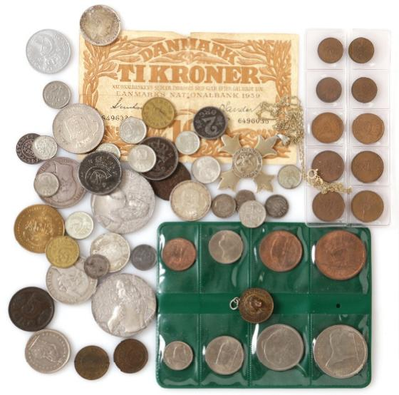 Collection of Danish coins from Chr. IV to Frederik IX, incl. 2, 5, 10 and 25 øre as well as 1/2