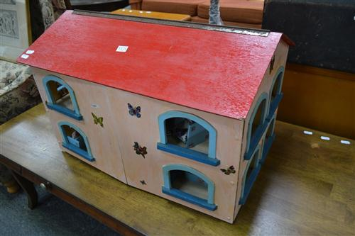 Vintage Timber Dolls House with Furniture