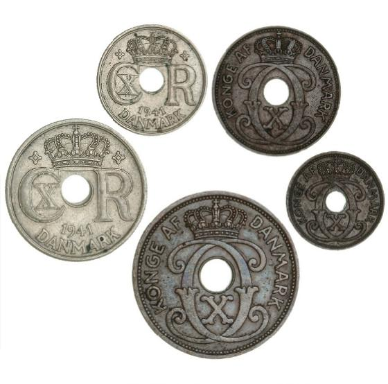Faroe Islands, complete set 1941, 5 pcs., w/o mintmark
