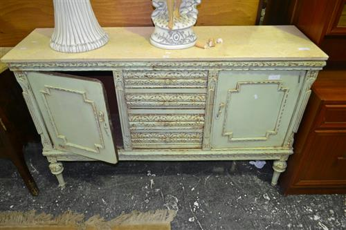 Carved Marble Top Sideboard w 4 Drawers Flanked by 2 Doors