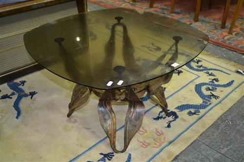 Metal 1970s Glass Top Coffee Table