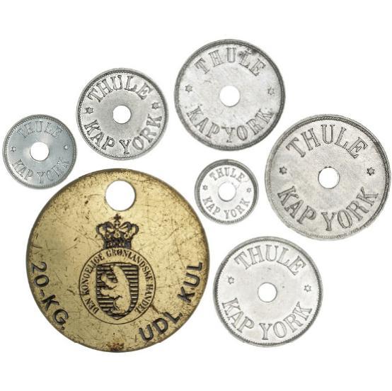 Greenland, Thule, Kap York, 5, 25, 100, 500 øre 1910, 5, 10 kr 1932