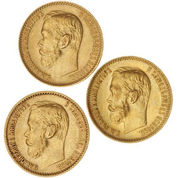 Russia, Nikolaj II, 5 Roubles 1898, 1899, 1902, F 180 (3)